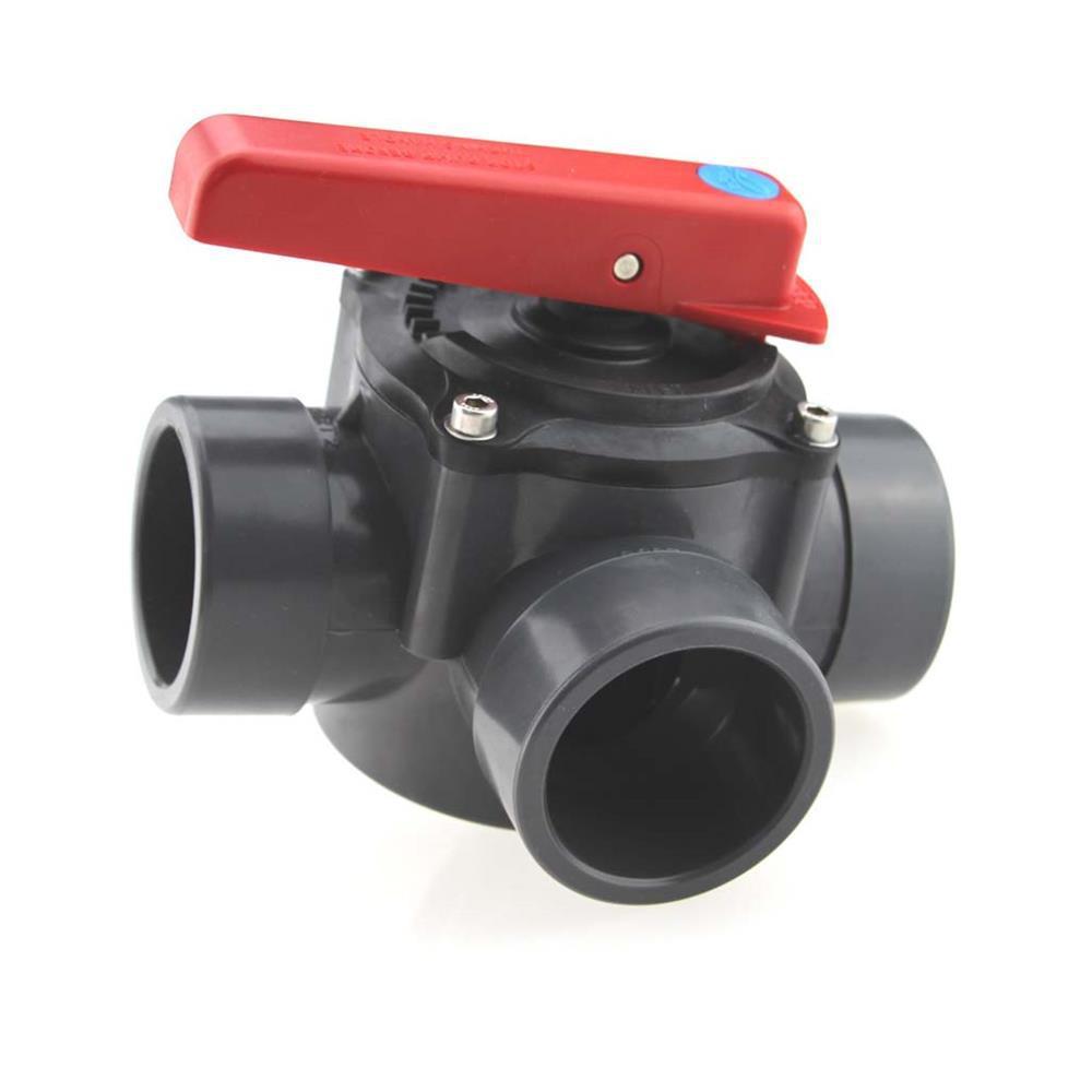 3-Scheiben PVC Zylinderhahn Anschluss D50/d63, 3-Wege-PVC Kugelhahn